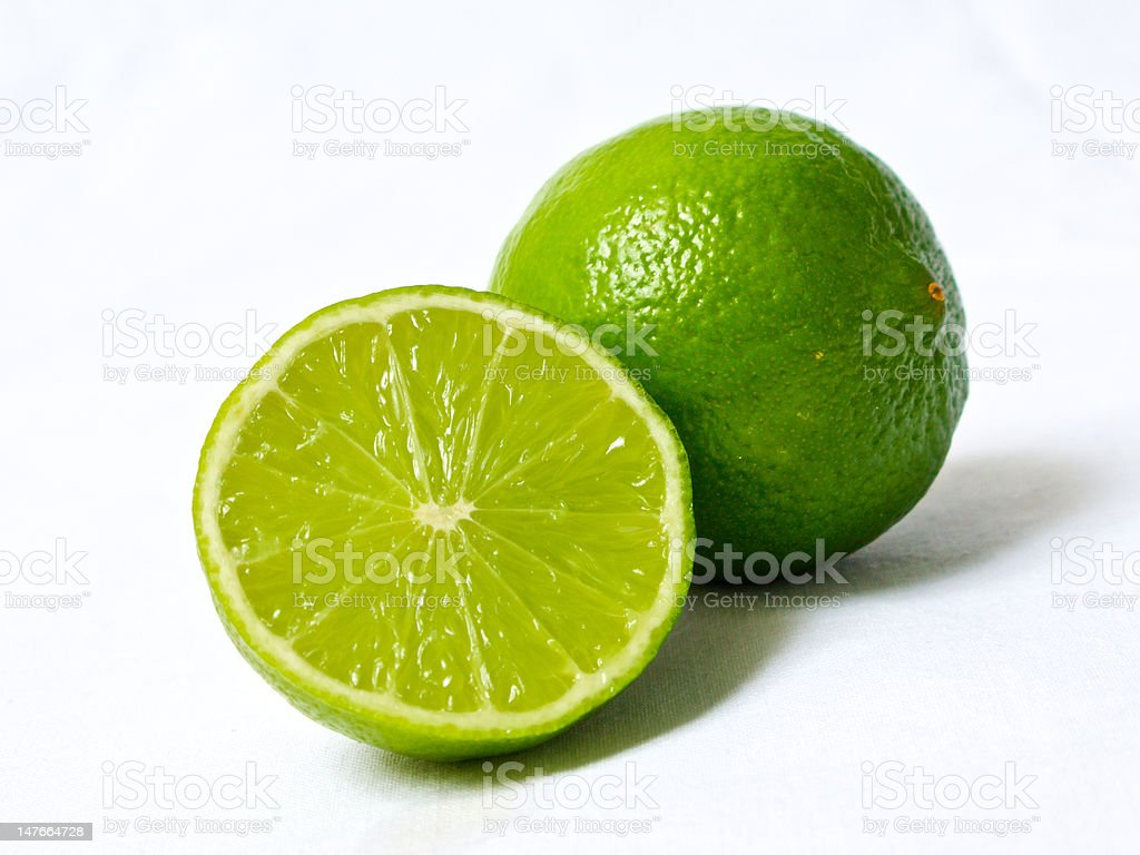 Lime in half stock photo