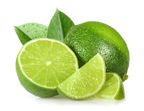 Lime Isolated On White Background - Fotografie stock e altre immagini di Agrume