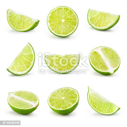 Lime. Lime slice isolated on white background. Collection.