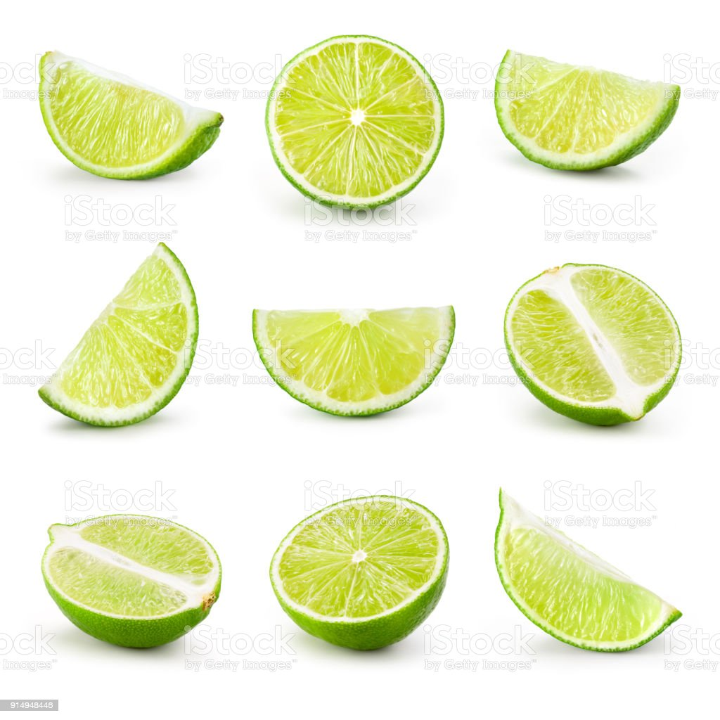 Lime. Lime slice isolated on white background. Collection. - fotografia de stock