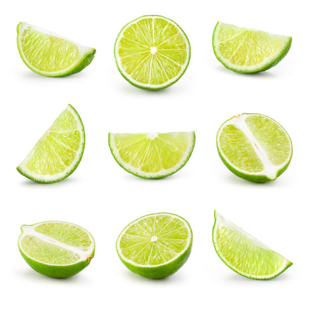 Lime. Lime slice isolated on white background. Collection. stock photo