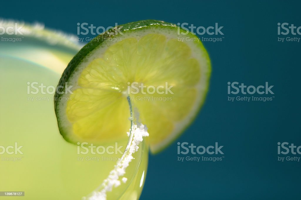 Lime on Salted Margarita Glass royalty-free stock photo