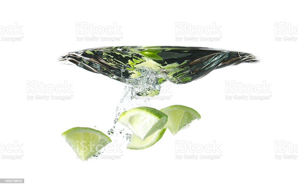 Lime pieces underwater royalty-free stock photo