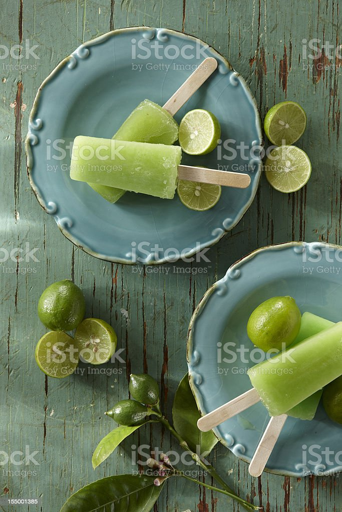 Lime Popsicles stock photo