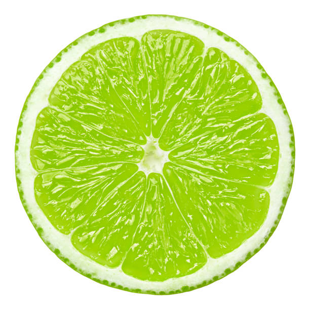 lime slice, clipping path, isolated on white background stock photo