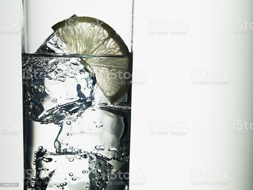 Lime slice in glass of water royalty-free stock photo