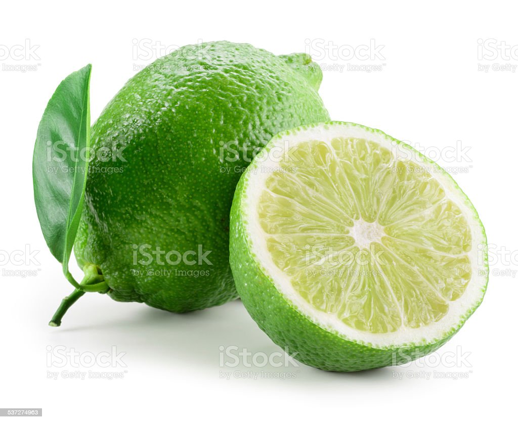 Lime. Whole and a half isolated on white stock photo