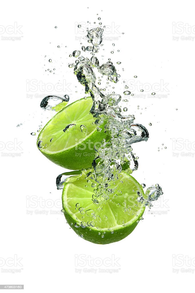 Lime with water stock photo