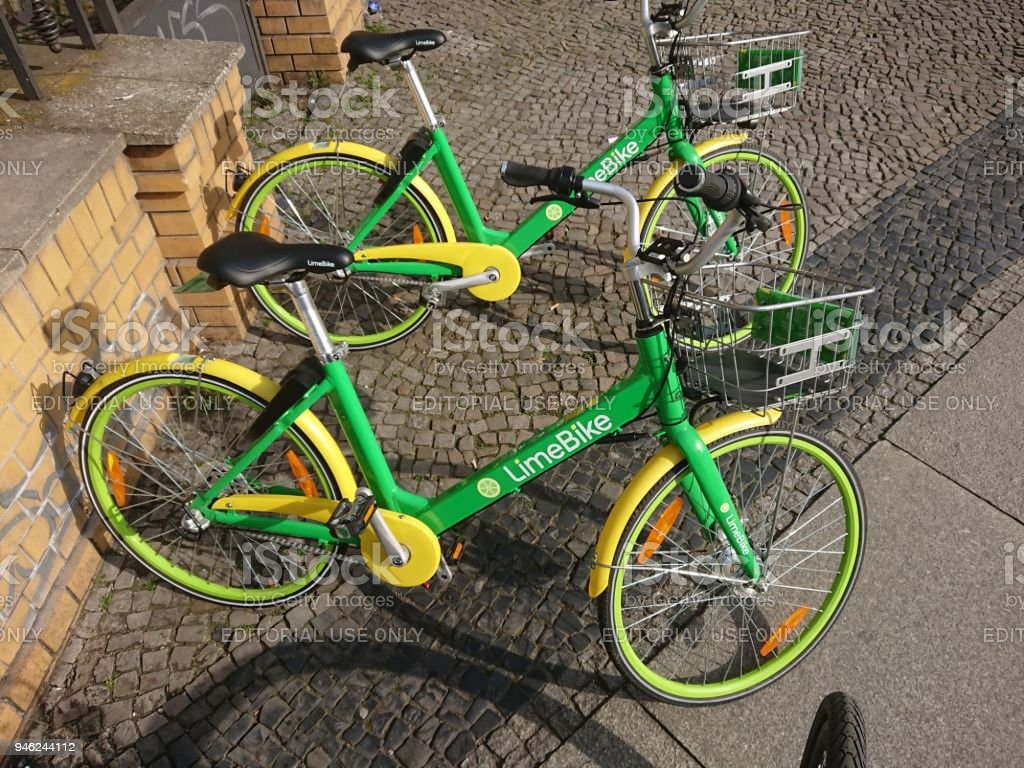 LimeBike electric bicycles stock photo