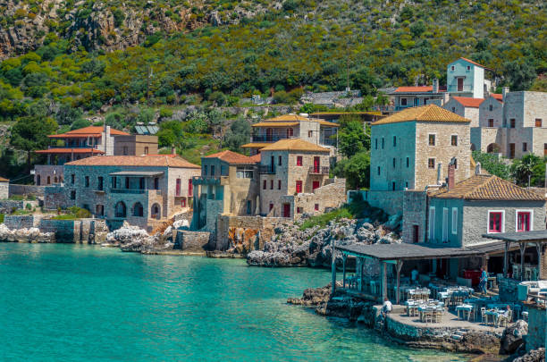 Limeni Peloponnese - Scenic view at the picturesque village of limeni with the beautiful alleys and the characteristic stone buildings. stock photo