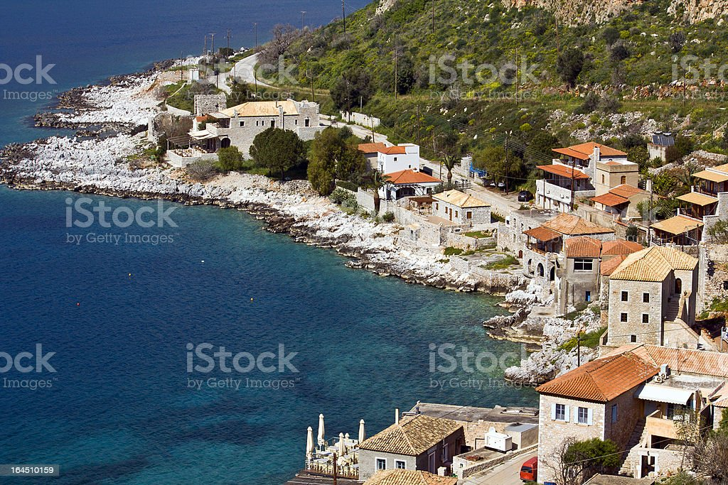 Limeni traditional fishing village at Peloponnese, Mani, Greece royalty-free stock photo