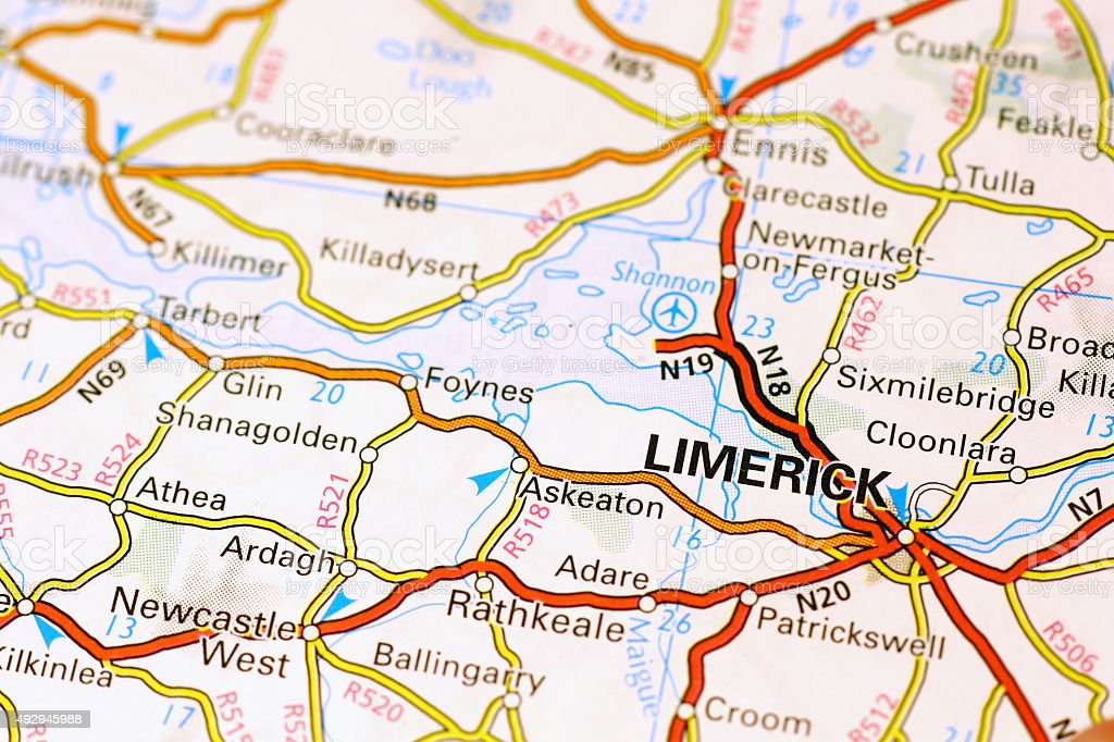 Limerick area on a map stock photo