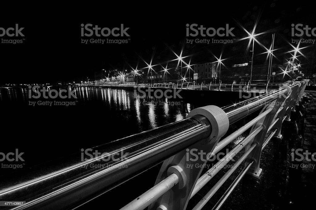 Limerick Board Walk at Night stock photo