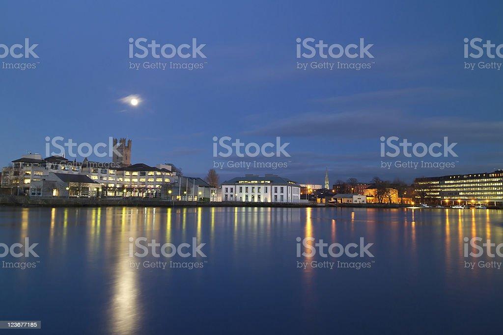 Limerick city at night stock photo