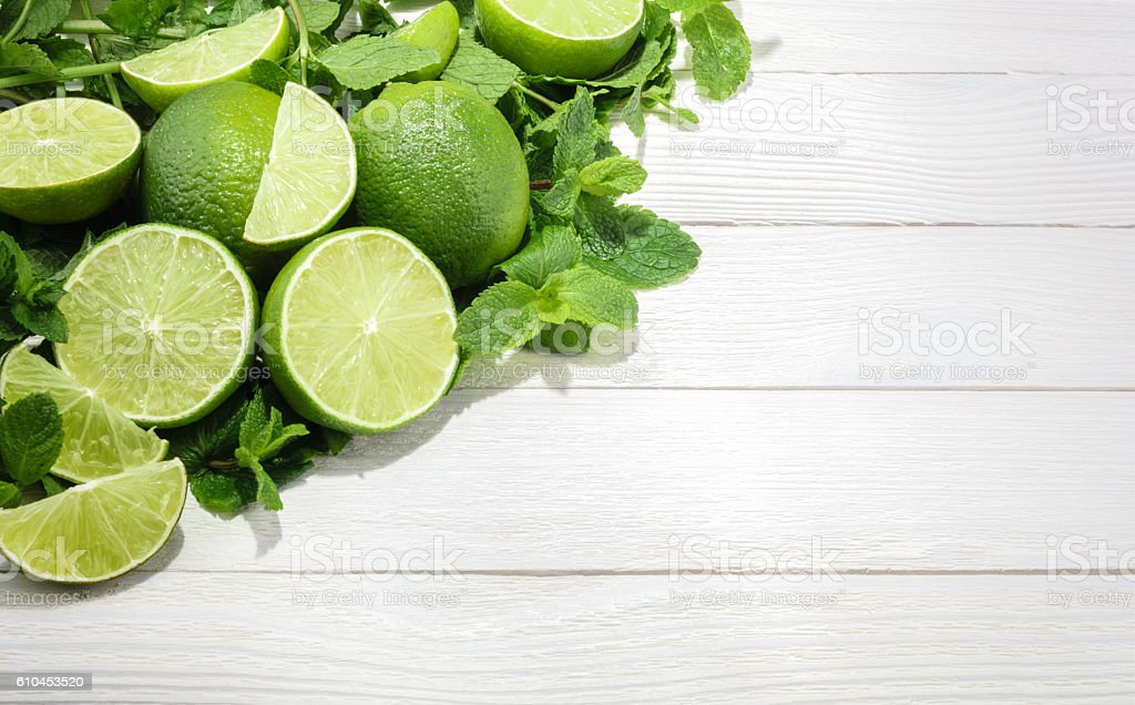 Limes and mint on wooden background. with copy space stock photo