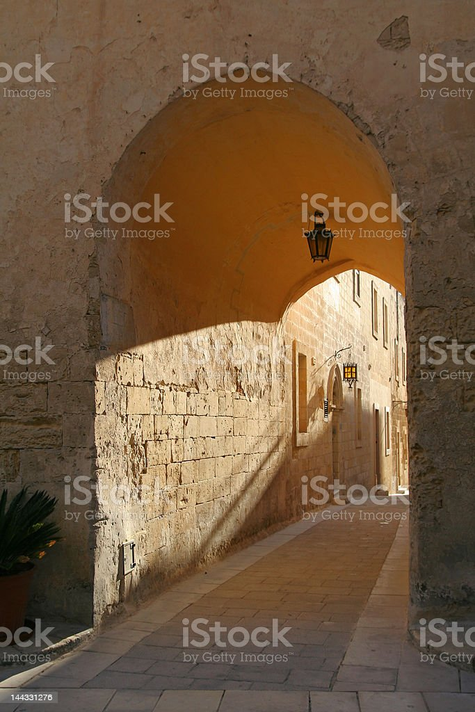 Limestone Archway in Mdina, Malta royalty-free stock photo