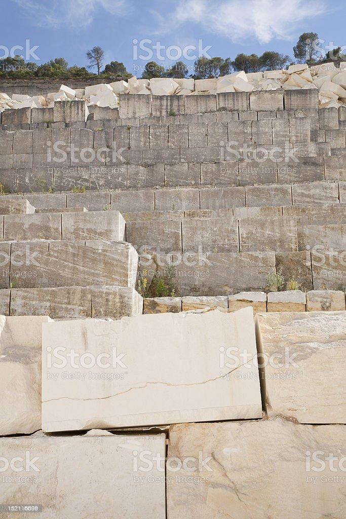Limestone Blocks in a Quarry stock photo