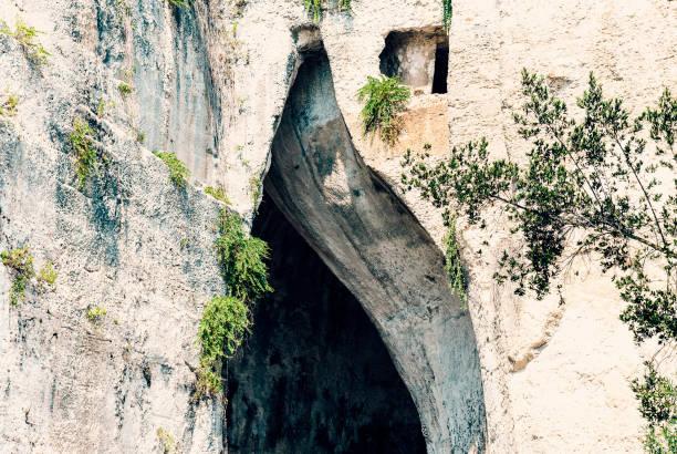 Limestone Cave Ear of Dionysius (Orecchio di Dionisio) with unusual acoustics Syracuse (Siracusa), Sicily, Italy stock photo
