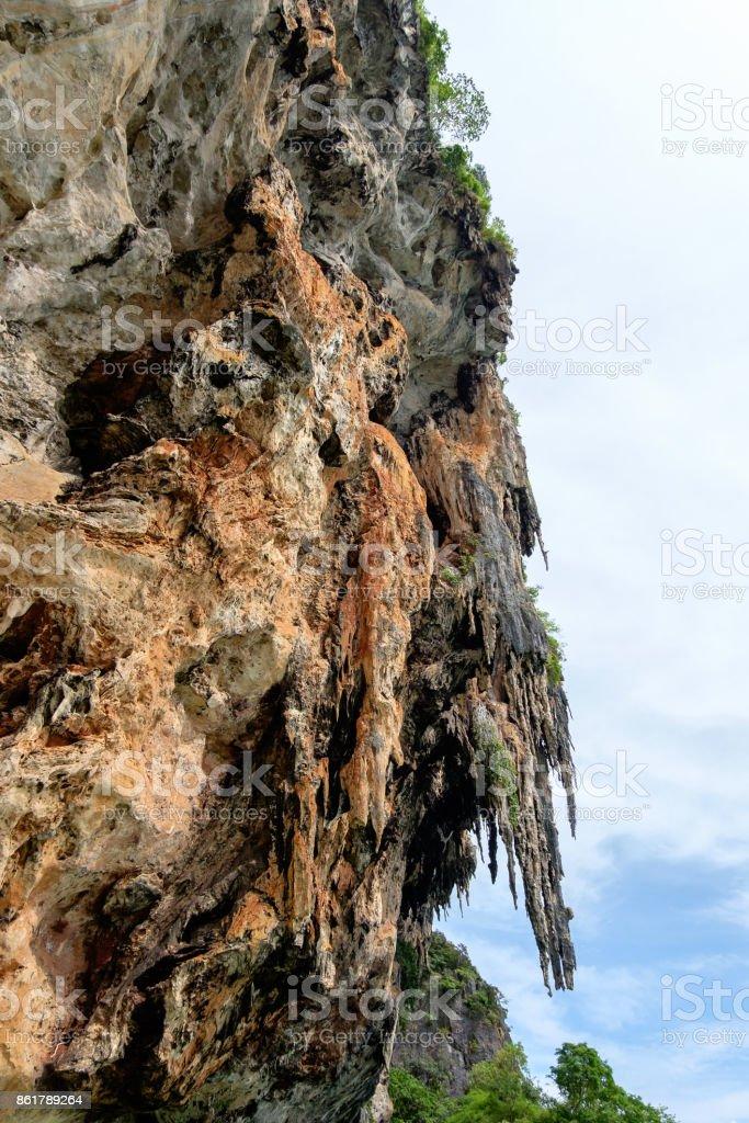Limestone cliff at Phra Nang cave. stock photo