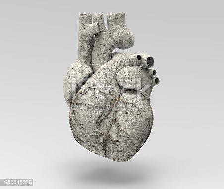 istock 3D limestone human heart  illustration 955545326