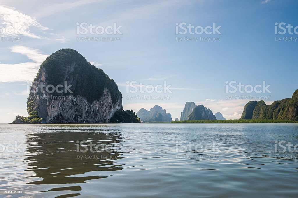 Limestone island in Phang Nga Bay stock photo