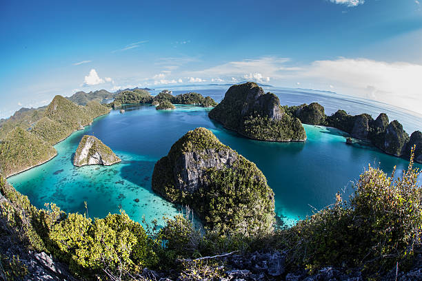 limestone islands and tropical lagoon - indonesia stock photos and pictures