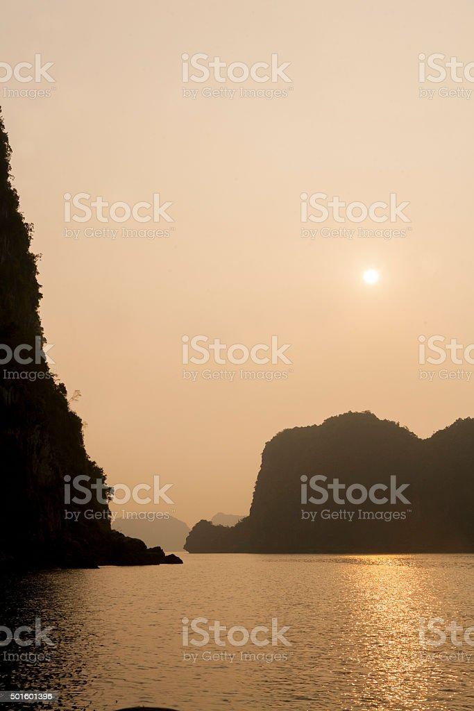 Limestone islands in Halong Bay stock photo