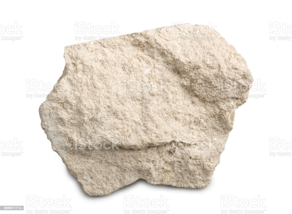 Limestone isolated on white background. Limestone is a sedimentary rock  composed of skeletal fragments of marine organisms. stock photo