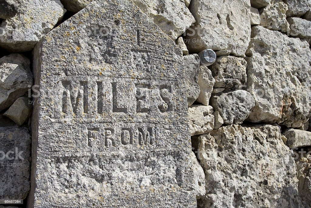 Limestone Mile Stone royalty-free stock photo