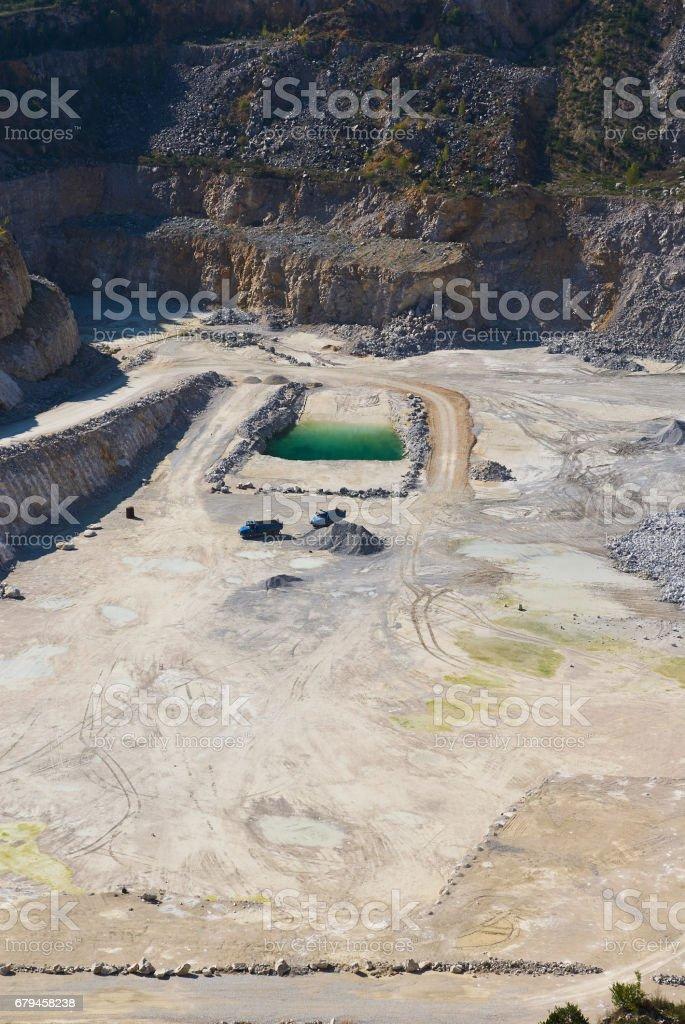 Limestone mine in Koneprusy, Czech Republic. Deep opencast mines leave great environmental impact. royalty-free stock photo