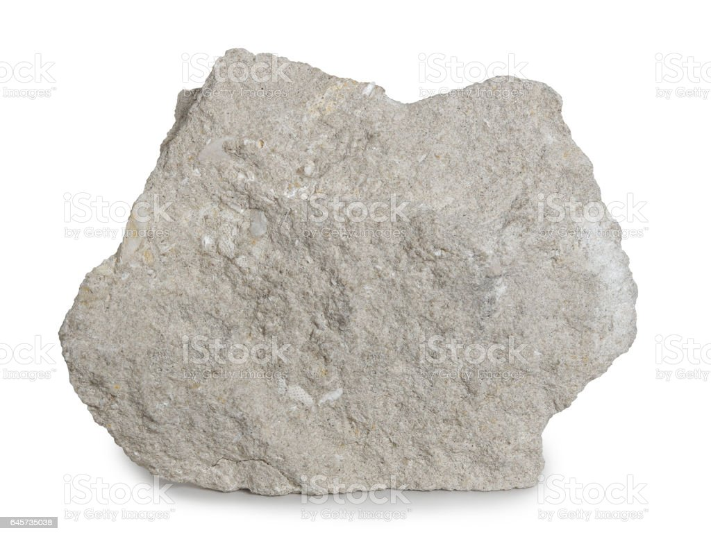 Limestone mineral stone isolated on white background. stock photo