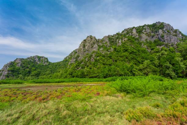 Limestone mountains in Asia stock photo