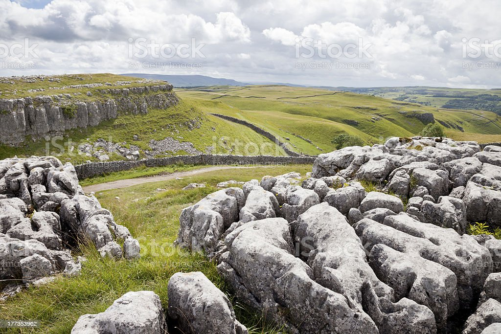 Limestone pavement in the Yorkshire Dales stock photo