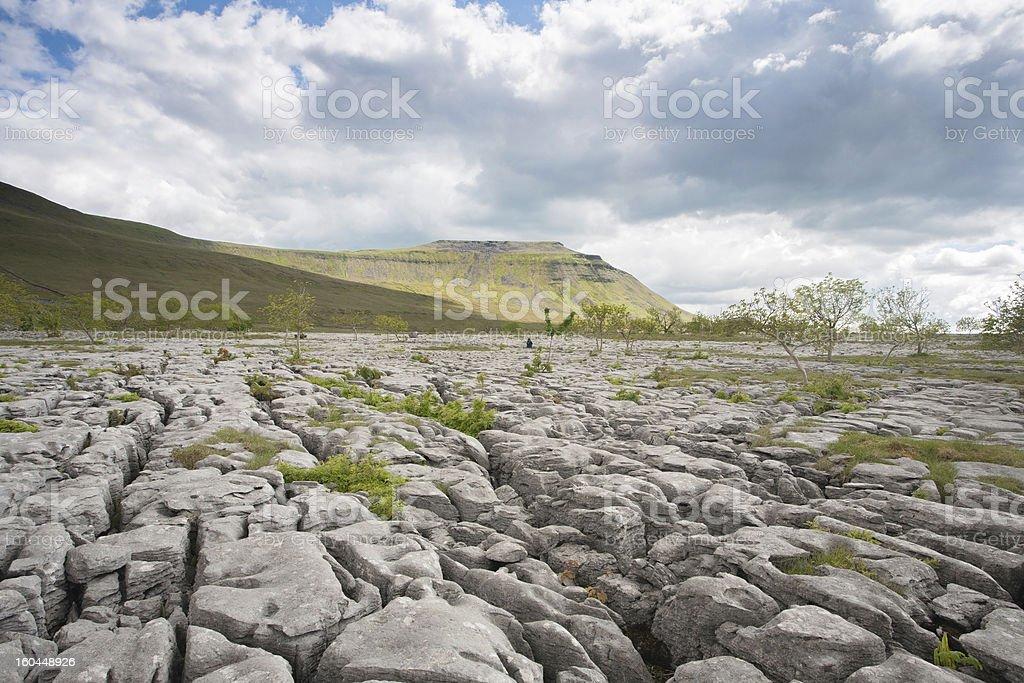 Limestone Pavements and Ingleborough, Yorkshire, UK stock photo