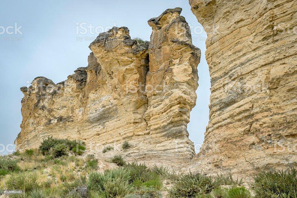 limestone pilars in Kansas prairie stock photo