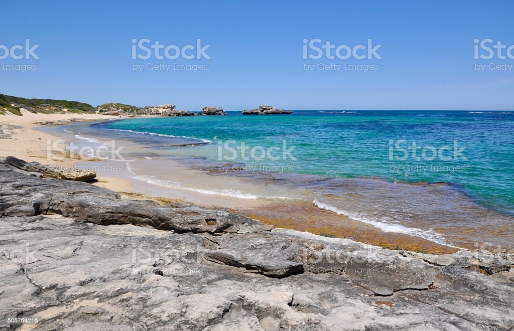 Limestone Platforms: Indian Ocean at Cape Peron stock photo