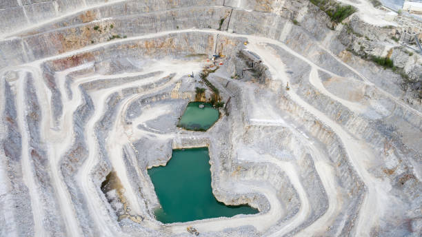Limestone quarry - aerial view stock photo