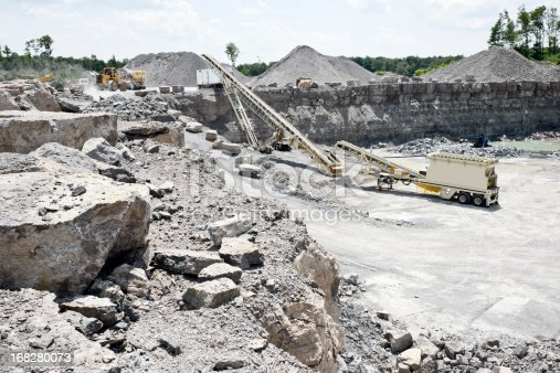 A modern limestone quarry operation with rock crushing and screening equipment.
