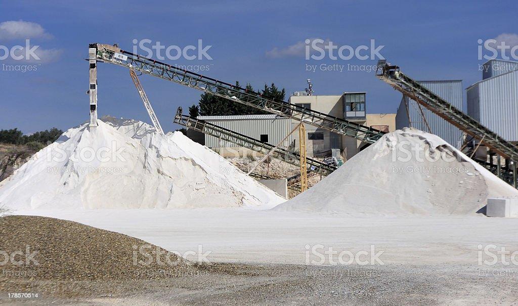 Limestone quarry with modern crushing and screening equipment stock photo