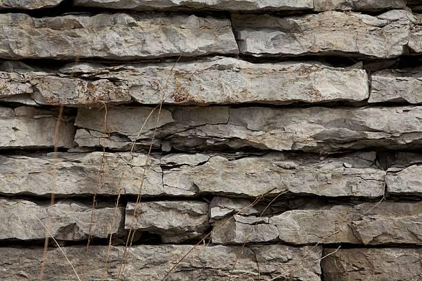 Limestone rock wall stock photo