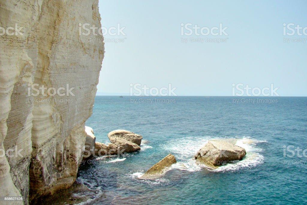 Limestone rocks of Rosh Hanikra in Israel stock photo