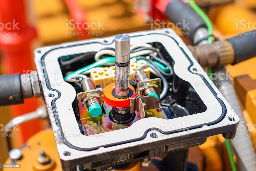 Limit switch of actuator valve in power plant stock photo