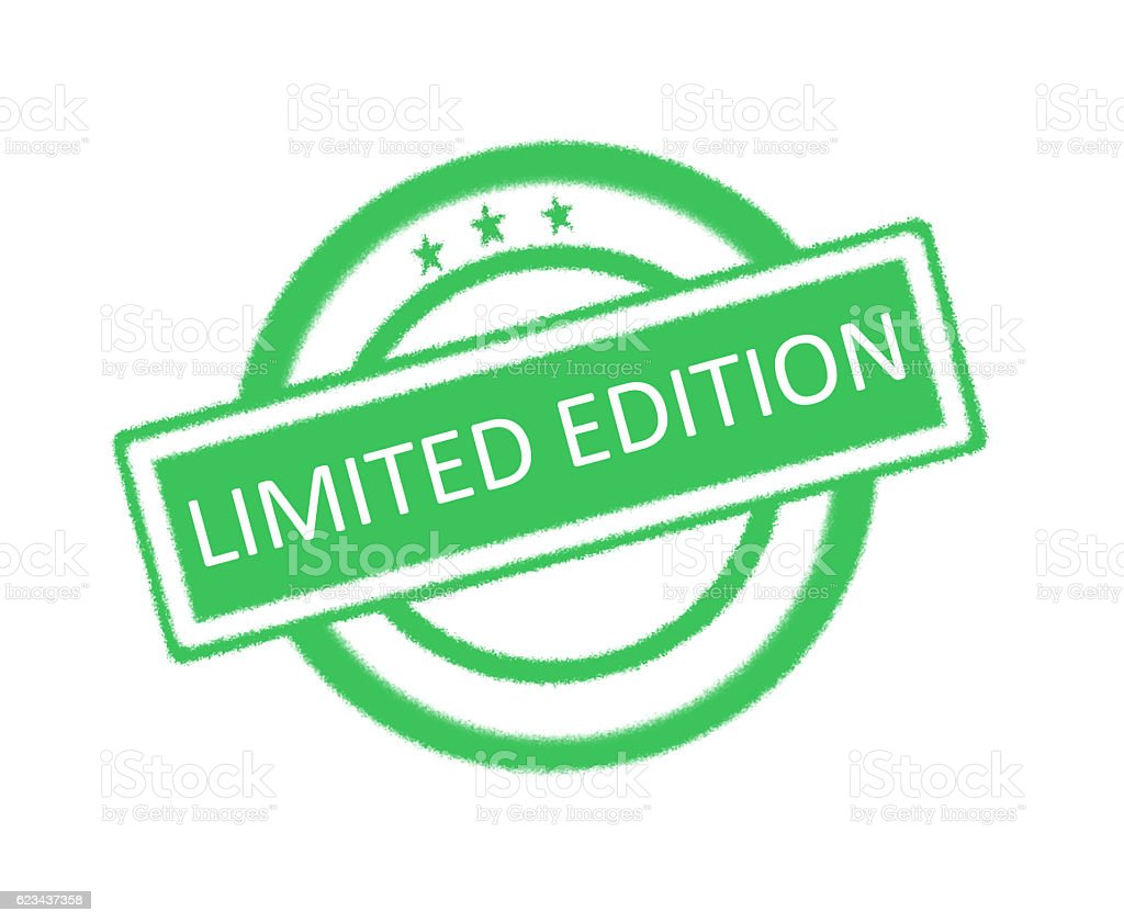 Limited edition word on green rubber stamp stock photo