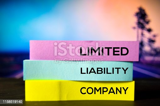 Limited Liability Company on the sticky notes with bokeh background