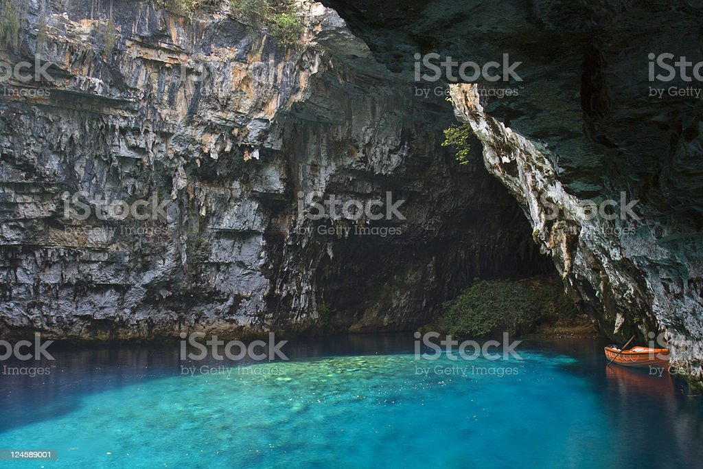 Limnetic cave of Melissani in Greece stock photo
