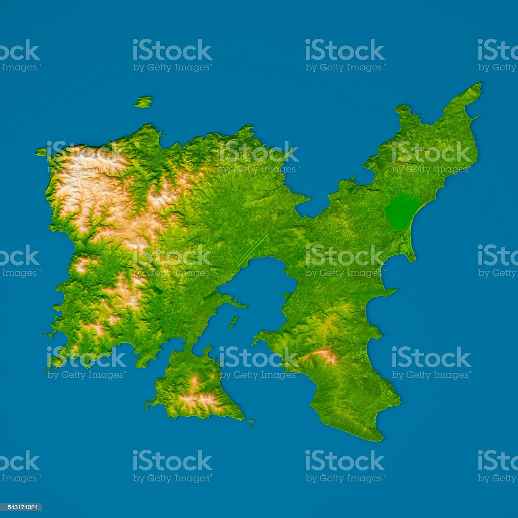 Limnos Island 3d Model Topographic Map Relief Color Top View Stock