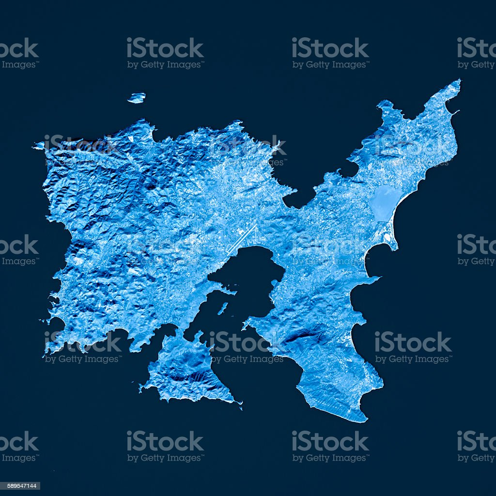 Limnos Island Topographic Map Blue Color Top View Stock Photo More