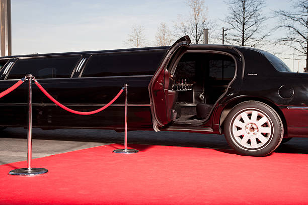 limo with open door on red carpet - fame stock photos and pictures