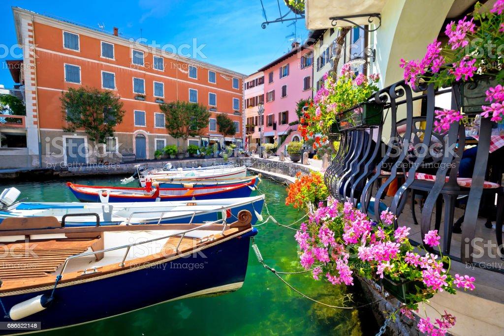 Limone sul Garda turquoise waterfront view, town in Lago di Garda, Lombardy, Italy stock photo