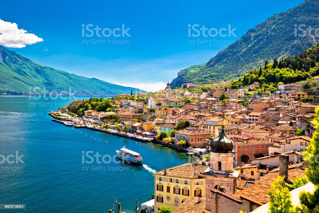 Limone sul Garda waterfront view, Lombardy region of Italy stock photo